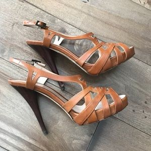 Fendi Leather Strappy Heels Brown 38 / 8 Slingback
